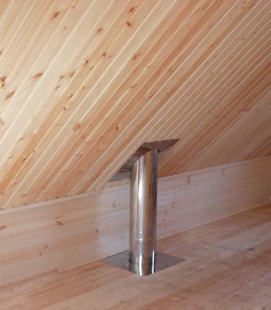 Как сделать проход трубы через потолок в бане своими руками